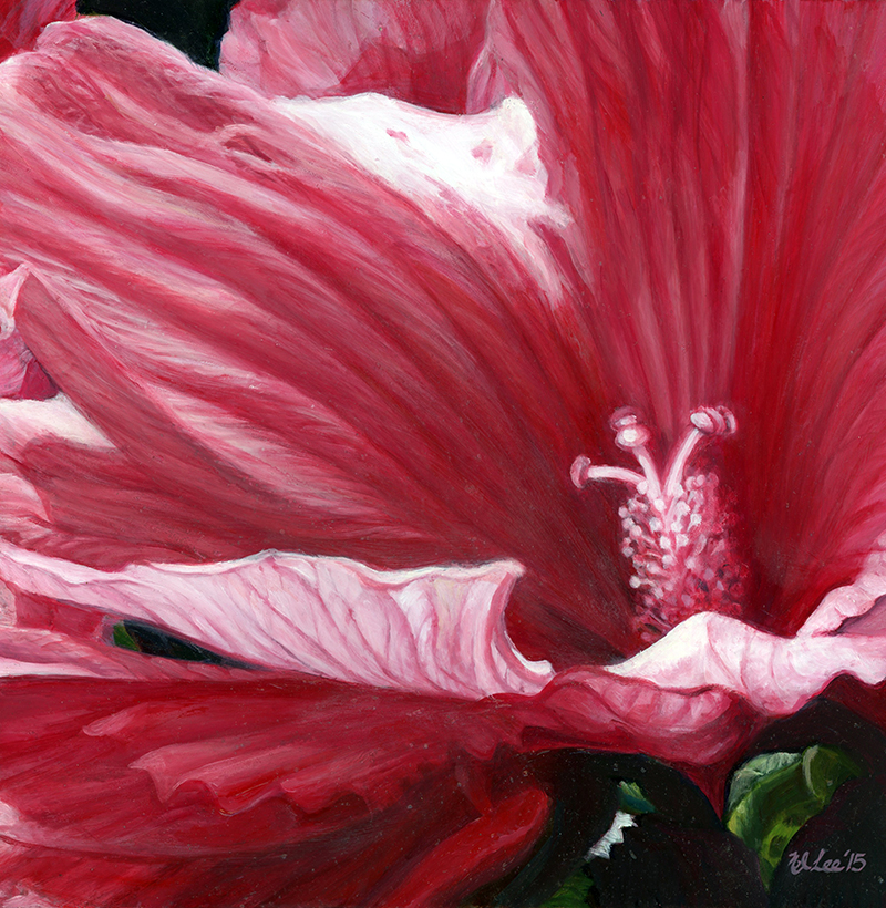 """Red Hibiscus ,oil on panel, 10""""x10"""""""