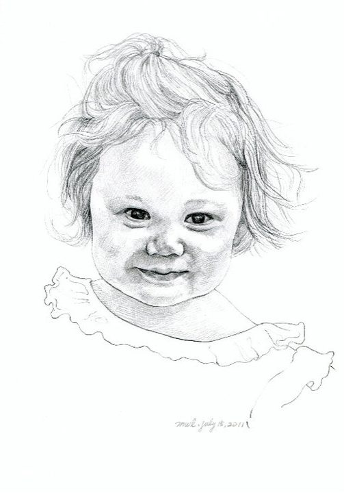 """Little girl, pencil on paper 10""""x8"""""""